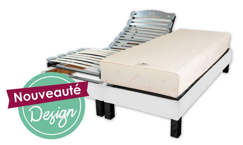 ensemble electrique lattes relax design apollon blanc 2x80x200 vj confect lits electriques. Black Bedroom Furniture Sets. Home Design Ideas