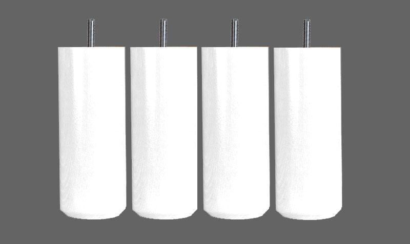 jeu de 4 pieds de lit cylindriques 20 cm blanc pieds. Black Bedroom Furniture Sets. Home Design Ideas