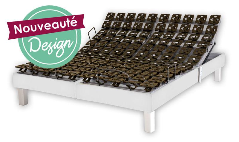 sommier lectrique plots variodeco blanc neige 2x80x200 par vj confect sommiers. Black Bedroom Furniture Sets. Home Design Ideas